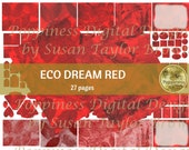 ECO DREAM in RED digital paper | Scrapbook Paper | Printable Digital Junk Journal Collage Sheet