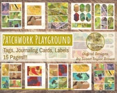 Patchwork Playground Tags, Labels, Journaling Cards on Printable Paper Digital Collage Sheet Junk Journal Pages Instant Download