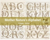 BOTANICAL ALPHABET in Sepia | Digital Download for Vintage Junk Journal | Collage Sheet for Paper Crafters