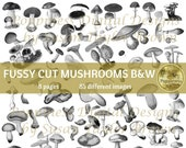 FUSSY CUT MUSHROOMS in Black & White   Junk Journal Printable   Nature Journal Ephemera