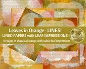 ORANGE LEAVES LINED Paper Printable Paper Pack Junk Journal Paper Planner Paper 10 Pages Instant Download