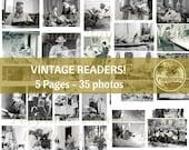 VINTAGE READING photos! Printable Digital Collage Sheet  Booklover Digital Ephemera Bookworm  Instant Download