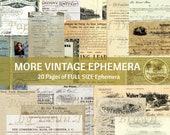 MORE VINTAGE EPHEMERA  | Printable Digital Kit Full Size Antique Ephemera for Junk Journals