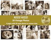 VINTAGE KISS Couples Kissing Valentine's Day Images Printable Digital Collage Sheet Digital Kiss! Kiss! Junk Journal Printable Ephemera