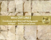 ECO PRINT LINED paper digital | Eco Dyed Junk Journal Pages (West Cliff) Has matching background pages