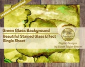 Green Digital Paper Stained Glass Effect on Printable Paper Digital Collage Sheet Junk Journal Pages Instant Download