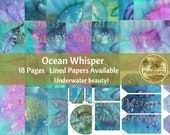 BLUE leaves Digital Junk Journal Pages Printable Paper Collage Sheet Boho Colors OCEAN WHISPER