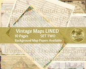 VINTAGE MAPS LINED Paper   Digital Download Junk Journal Pages (Set 2)