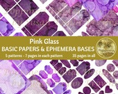 PINK PURPLE Printable Paper Pack Background Ephemera Bases Lined Paper Collage Sheet Junk Journal 35 Pages Instant Download