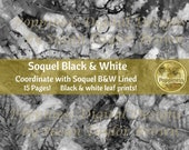 BLACK & WHITE BOTANICAL Leaf Prints for Junk Journal Pages | Soquel Eco Dyed Botanical Leaf Papers