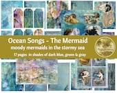 MERMAID DIGITAL PAPER Ocean Songs Printable Digital Junk Journal Collage Sheet Vintage Illustrations Instant Download
