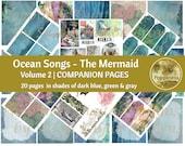 MERMAID Journal Printable Digital Collage Sheet Vintage Illustrations Blue Lined Paper Instant Download Ocean Songs Volume 2