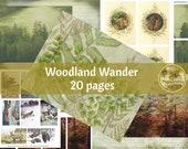WOODLAND Wander DIGITAL PAPER Printable Digital Junk Journal Collage Sheet Vintage Illustrations Instant Download