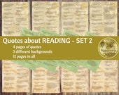 Printable Quotes READING, Inspiring Quotes Digital Collage Sheet Junk Journals (SET 2) Printable Words