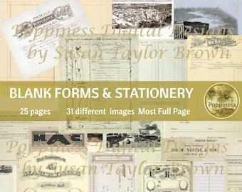 VINTAGE STATIONERY & BLANK Forms | Printable Ephemera for Junk Journals