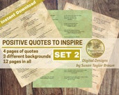 Printable Quotes about POSITIVE THINKING, Digital Collage Sheet Junk Journals (SET 2)