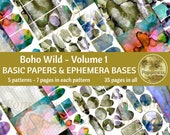 BOHO WILD Printable Paper Pack Background Ephemera Bases Lined Paper Collage Sheet Junk Journal 35 Pages Instant Download