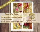 Beautiful Bees in Nature Printable Journaling Cards Digital Collage Sheet Vintage Illustrations Instant Download