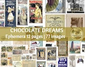 CHOCOLATE DIGITAL EPHEMERA |  Vintage Junk Journal Printable Ephemera | Valentine's Day
