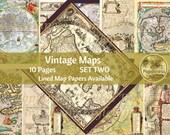 Vintage Maps Printable Journal Pages   Travel Digital