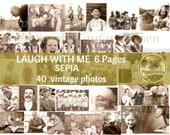 Vintage Photo Digital Download LAUGH WITH ME |  Junk Journal Printable Ephemera