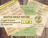Printable Quotes about NATURE, Digital Collage Sheet Junk Journals (SET 2)