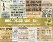 BROADSIDE ADS | VINTAGE Printable Ephemera for Junk Journals | Set 1