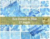 ECO DREAM in BLUE digital paper | Printable Digital Junk Journal Collage Sheet