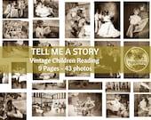 Vintage Photos Children Reading  Printable Digital Collage Sheet  Booklover Digital Ephemera Bookworm  Instant Download