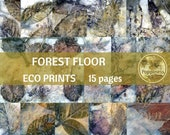 FOREST FLOOR ECO Print | Digital Eco Dyed Leaf Prints Junk Journal Backgrounds Earthtone Paper Leaves
