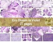 ECO DREAM in Violet digital paper | Printable Digital Junk Journal Collage Sheet Purple Eco Print