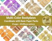 BOOKPLATES MULTI-COLOR Printable Bookplates Ephemera Bases Collage Sheet Junk Journal 25 Pages Instant Download