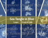 SEA TANGLE in BLUE | Digital Download for Vintage Junk Journal | Collage Sheet for Paper Crafters