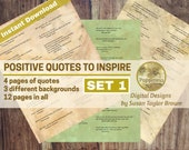 Printable Quotes about POSITIVE THINKING, Digital Collage Sheet Junk Journals (SET 1)