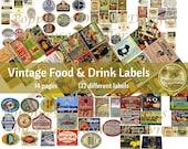 Vintage FOOD & DRINK LABELS| Printable Ephemera for Junk Journals