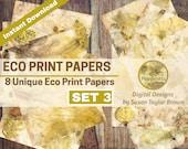 Eco Dyed Nature Prints Digital Download Collage Sheet Junk Journals (SET 3)