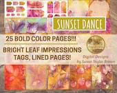 ORANGE Leaves Digital Printable Paper Collage Sheet Junk Journal Pages Instant Download Boho Colors SUNSET DANCE