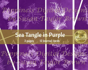 SEA TANGLE in PURPLE | Digital Download for Vintage Nature Junk Journal | Collage Sheet for Paper Crafters