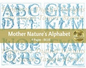 BOTANICAL ALPHABET in BLUE | Digital Download for Vintage Junk Journal | Collage Sheet for Paper Crafters