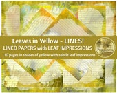 YELLOW LEAVES LINED Paper Printable Paper Pack Junk Journal Paper Planner Paper 10 Pages Instant Download