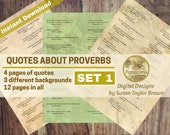 Printable Quotes about PROVERBS, Digital Collage Sheet Junk Journals, Words for Journals