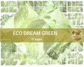 ECO DREAM in GREEN digital paper | Scrapbook Paper | Printable Digital Junk Journal Collage Sheet
