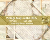 VINTAGE MAPS with LINES   Digital Download Junk Journal Pages (Set 1)
