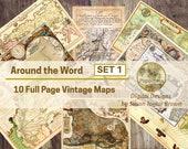 Vintage Maps   Digital Download Junk Journal Pages