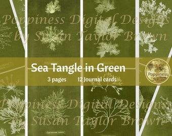 SEA TANGLE in GREEN | Digital Download for Vintage Junk Journal | Collage Sheet for Paper Crafters