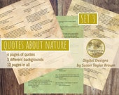 Printable Quotes about NATURE, Digital Collage Sheet Junk Journals (SET 3)