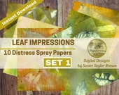 Leaf Impressions Spray Stained Papers Digital Download Collage Sheet Junk Journals (SET 1)
