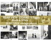 VINTAGE PHOTOS DIGITAL! Rear View Stories | Digital Collage Sheet l Black & White Ephemera