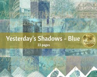 ARCHITECTURE RUINS in BLUE digital paper | Printable Vintage Junk Journal Collage Sheet Scrapbook Paper | Yesterday's Shadows