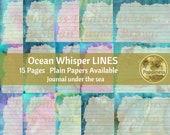 BLUE LINED paper LEAVES Digital | Junk Journal Pages | Printable Paper Collage Sheet Boho Colors Ocean Whisper
